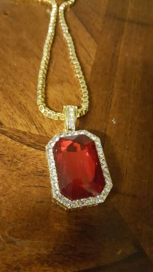 """Gold plated ruby iced out chain 30"""" for Sale in Severn, MD"""