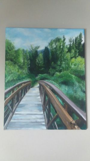 "acrylic painting, painted at ashley lake montana 16"" by 20"" for Sale in Bismarck, ND"