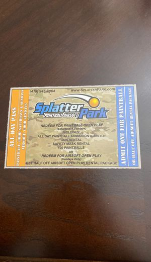 Splatter park tickets for Sale in Hilliard, OH