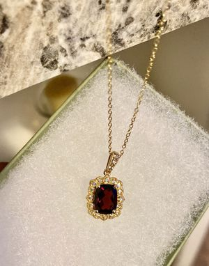 Beautiful 😍😍!!! 14k plated Solid 925 SILVER + Garnet & White Sapphire Necklace ! for Sale in Los Angeles, CA