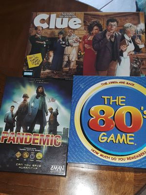 Board games (3) pandemic, 80's game & clue for Sale in Clearwater, FL