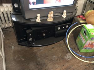 Wood and glass tv stand for Sale in Philadelphia, PA