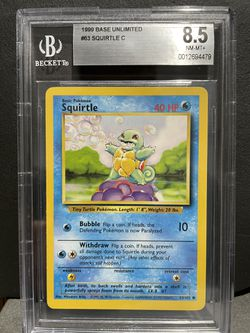 Squirtle BGS 8.5 1999 Pokemon Base Unlimited for Sale in North Bend,  WA