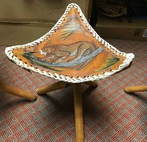 African hand painted leather stools for Sale for sale  Edison, NJ