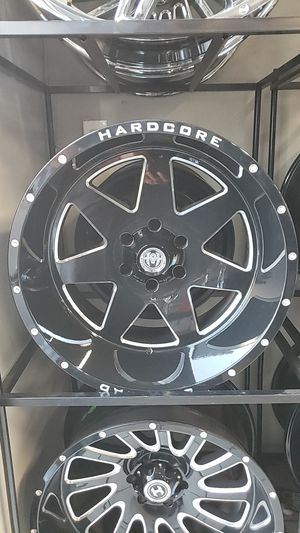 20x12 black hardcore rims 6 lug 6x139 6x5.5 on new tires 33 1250 20 lt for Sale in Phoenix, AZ