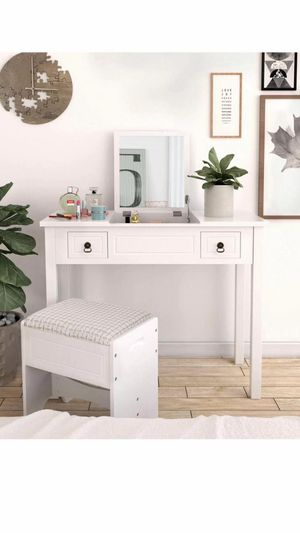 Vanity Set with Flip Top Mirror Makeup Dressing Table Writing Desk with 2 Drawers Cushioned Stool 3 Removable Organizers Easy Assembly, White for Sale in Eastvale, CA
