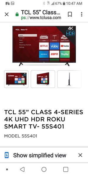 55 inch TCL Roku TV for Sale in Philadelphia, PA