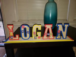 Used, Abc letter block themed wood letter name plate for Sale for sale  Long Beach, CA