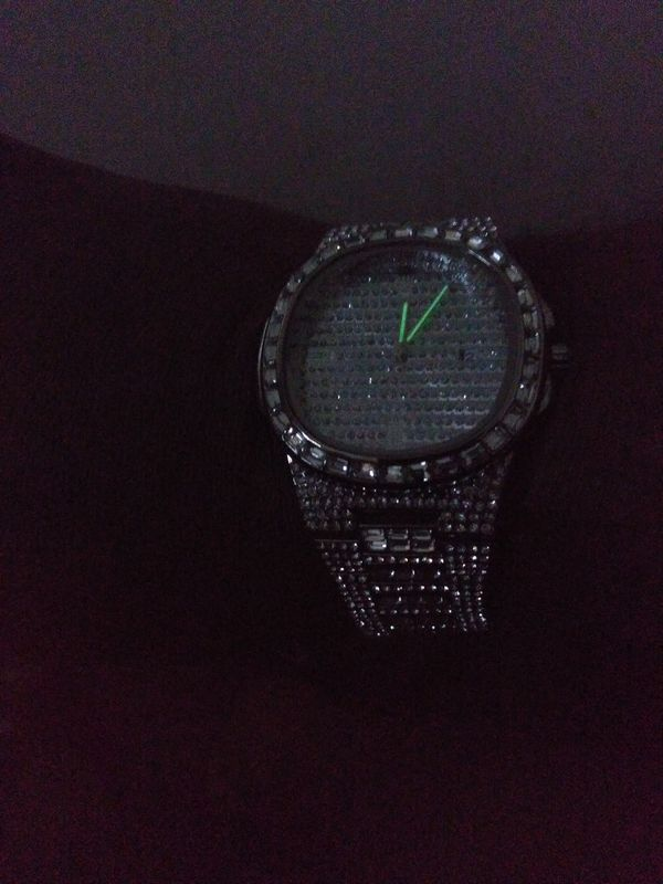 Stainless steel iceout watch for a man or a woman