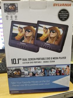 """2 10"""" set DVD PLAYERS BY sylvania. HANGS behind THE headrests. All accessories INCLUDED for Sale in Los Angeles,  CA"""