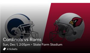 Cardinals vs Rams, 12/1, aisle seats, 4 tickets for Sale in Goodyear, AZ