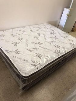 Queen pillow top mattress with boxspring for Sale in San Bernardino,  CA