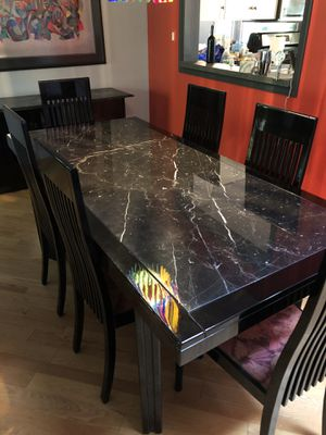 Beautiful Marble Table & Matching Buffet with 6 Chairs for Sale in Princeton, NJ