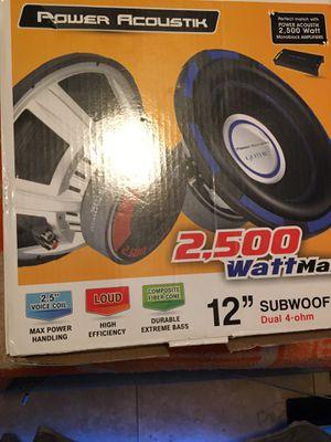 Power Acoustik 2500 watt 12 inch subwoofer dual 4 -olm for Sale in Clearwater, FL