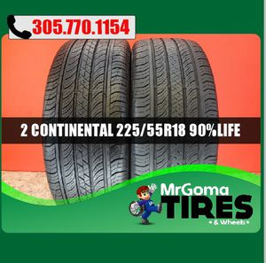 2 CONTINENTAL PROCONTACT TX M+S 225/55/18 USED TIRES NO PATCH 90.5% LIFE 2255518 for Sale in Miami Gardens, FL