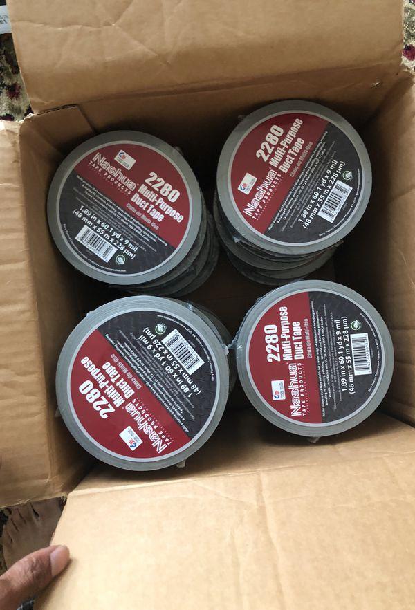 3 box's of 24 rolls of duck tap 48mm x 55 m 1.89 in x 60.1 yards Nashua tape products and 4 dozen of level 3 ram track aerosols
