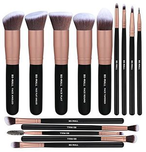 BS-MALL Makeup Brushes Premium Synthetic Foundation Powder Concealers Eye Shadows Makeup 14 Pcs Brush Set, Rose Golden for Sale in San Diego, CA