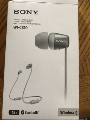 Sony Wireless in-Ear Headset/Headphones with mic for Phone Call, Black Stereo headset Bluetooth 15 hour battery Magnetic earbuds for Sale in Jamul, CA