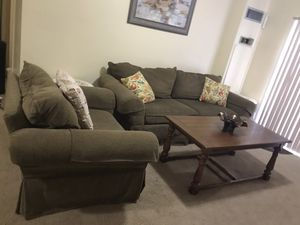 Moving out must sell Asap living room set of large heavy sofa with oversized chair and free3pillows free solid wood coffee table still available for Sale in Washington Grove, MD