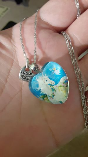 silver necklace with two heart pendants for Sale in New Port Richey, FL