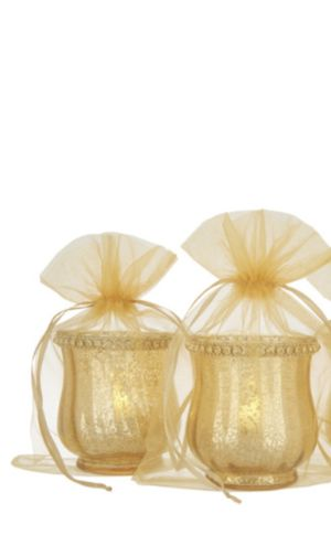 Set of 2 Mercury glass votive holders with sheer bags for Sale in Pompano Beach, FL