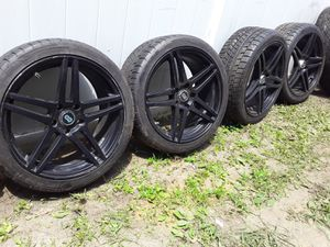18 inch matte black rims with new tires for Sale in West Babylon, NY
