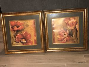 Wall art frame decor both wood frames 19x19 ea for Sale in Macomb, MI