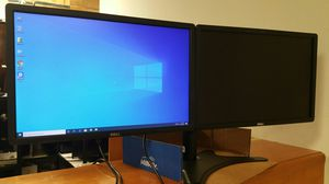 """24-inch Dual armed Dell 24"""" LCD monitors, HDMI , VGA, 1080p with cables for Sale in Richardson, TX"""