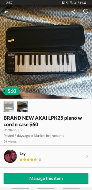 BRAND NEW AKAI LPK25 PIANO W CORD N CASE $60 obo for Sale in Portland, OR