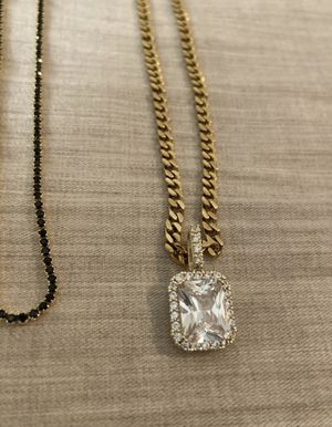 18k gold plated chains w/ Iced rock for Sale in Tempe, AZ