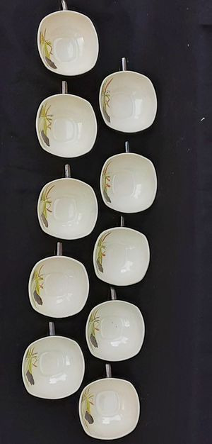 10 red wing pottery art deco lotus patterned PERFECT SET of 10 cups ! for Sale in Saginaw, MI