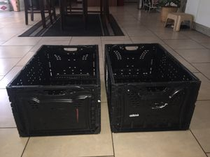 STACKABLE FOLDABLE COLLAPSIBLE STORAGE CRATES RESISTANT TO MOST ANYTHING $2 EACH for Sale in North Las Vegas, NV