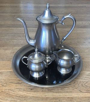 Vintage F.B. Rogers Pewter Tea Set With Tray for Sale in Staunton, VA