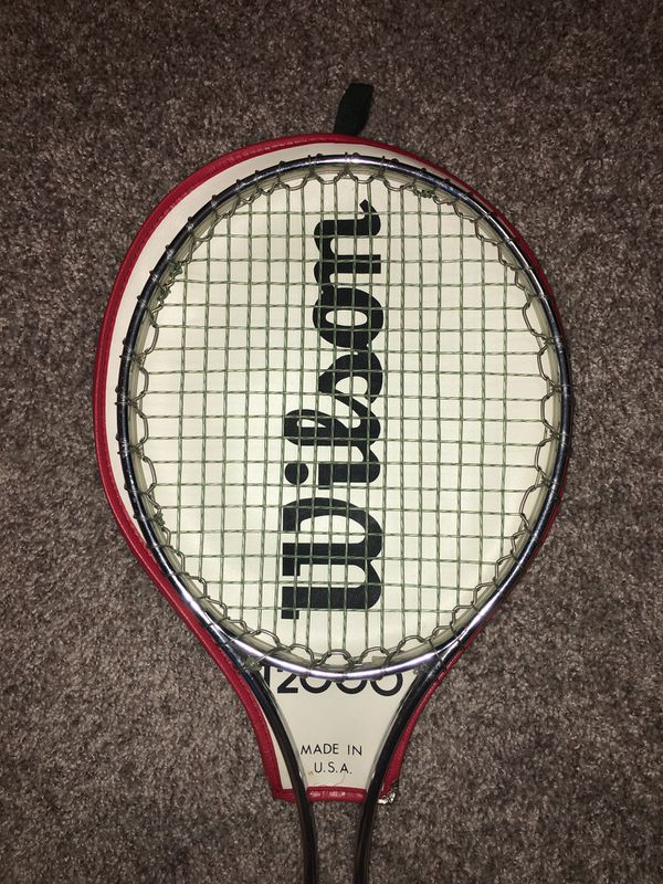 Vintage Wilson T2000 Tennis Racket and Cover