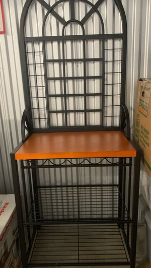 Bakers rack with 5 wine bottle holders for Sale in Dallas, TX