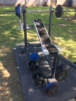 175 lbs! Standard weights / Bench / Dumbbells, Curl and Straight bar. for Sale in Phoenix, AZ