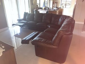 Natuzzi brown leather sectional couch for Sale in Tamarac, FL
