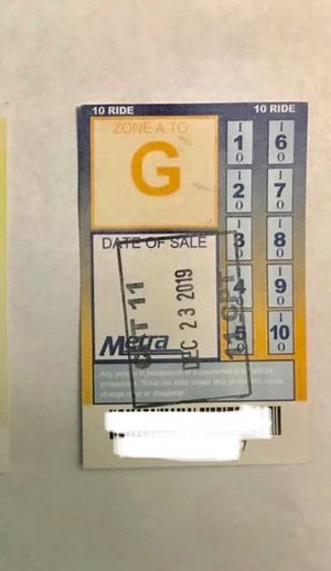 Metro A-G pass 10 ride for Sale in Prospect Heights, IL