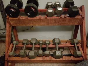 12 lb - 45 lb Dumbbell Set + Rack Sold Together or Separately for Sale in Cuyahoga Falls, OH