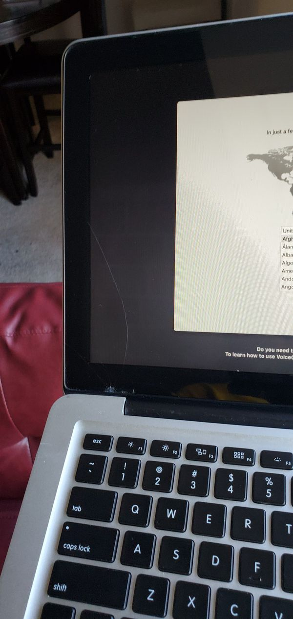 Macbook pro 2013 $400 it's has a small crack on the corner, but it didn't affect the screen