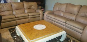 2 leather sofas with free table and new rug for Sale in Hudson, FL