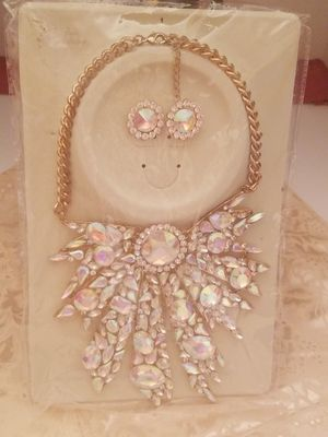 Dubai Jewelry set Women Necklace Earring 3Piece Crystal Gold Plated Wedding Sets for Sale in North Little Rock, AR