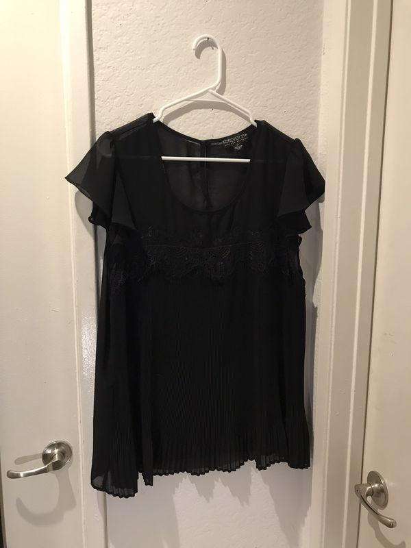Sheer black plus top