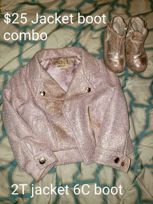 Girls 2T Jacket and 6C boots pink metallic for Sale in Snellville, GA