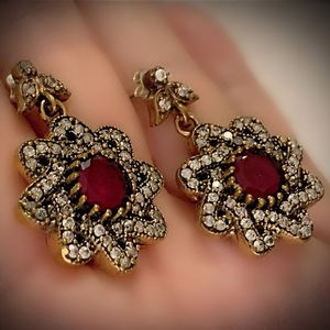 PIGEON BLOOD RED RUBY FINE ART DANGLE EARRINGS Solid 925 Sterling Silver/Gold WOW! Brilliant Facet Round Cut Gems, Diamond Topaz M6826 V for Sale in San Diego, CA