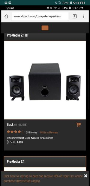Klipsch pro media 2.1 BT for Sale in Philadelphia, PA
