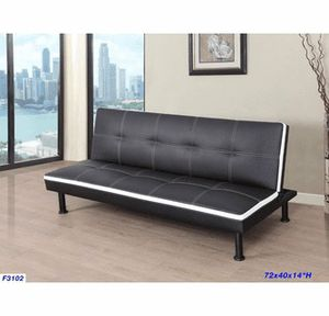 """6 ft ( 72"""" ) Black Futon sofa bed with white trimmed( New) for Sale in San Mateo, CA"""