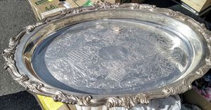 Antique silver engraved platter for Sale in San Leandro, CA