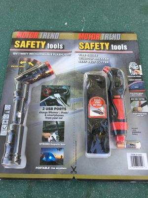 New motor trans safety tools kit comes with 12 V rechargeable flashlight two USB ports, tire gauge with a window breaker and seatbelt cutter. 4 count for Sale in Bloomington, CA