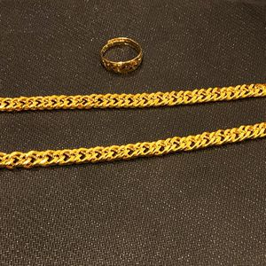 New Men gold chain necklace & Ring 60cm Long 1.8oz for Sale in West Covina, CA